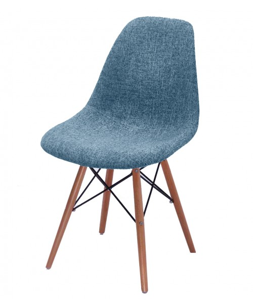 CozyBlock Scarlet Series Full Velvet Fabric Upholstered Side / Dining Accent Chair in Blue with Natural Beech Wood Eiffel Leg