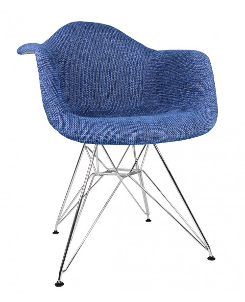 Denim Blue Woven Fabric Upholstered Accent Arm Chair