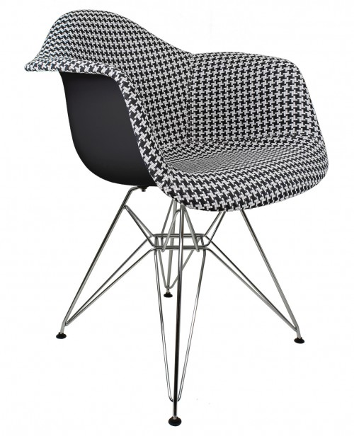 Houndstooth Pattern Woven Fabric Upholstered Black Eames Style Accent Arm Chair