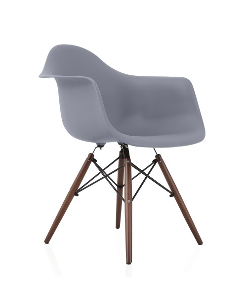 DAW Dark Gray Plastic Dining Armchair with Dark Walnut Wood Eiffel Legs