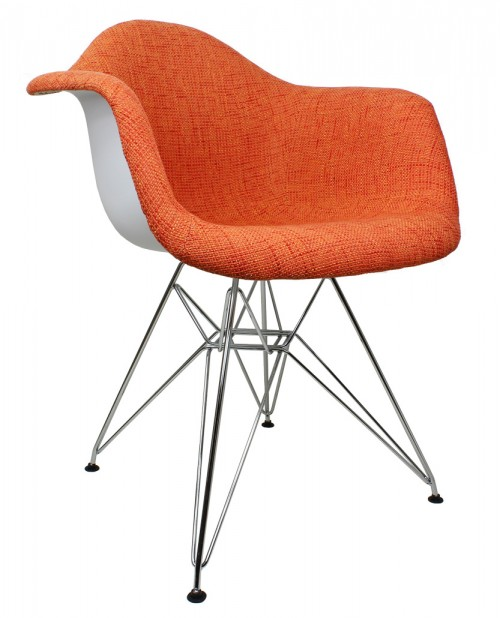 Orange Woven Fabric Accent Arm Chair