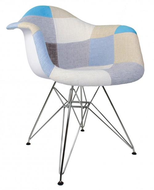 Patchwork Fabric Upholstered Mid-Century Accent Arm Chair with Steel Eiffel Legs