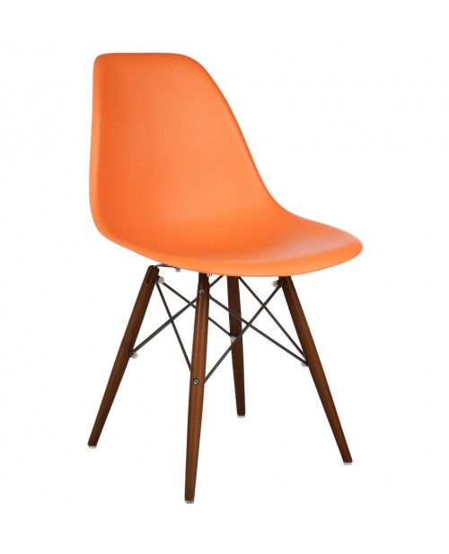 DSW Molded Orange Plastic Dining Shell Chair with Dark Walnut Wood Eiffel Legs