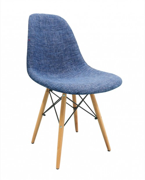 Blue Fabric Upholstered DSW Shell Chair with Wood Eiffel Legs