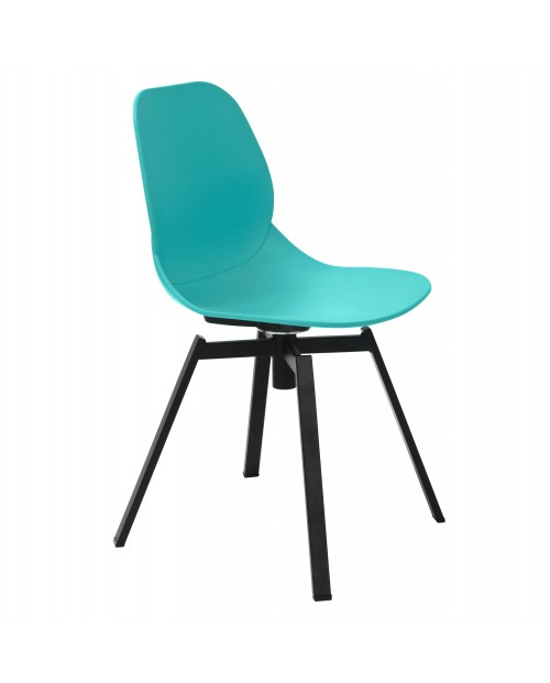 Joy Series Turquoise Dining Shell Side Chair Black Leg Designer Task Chair