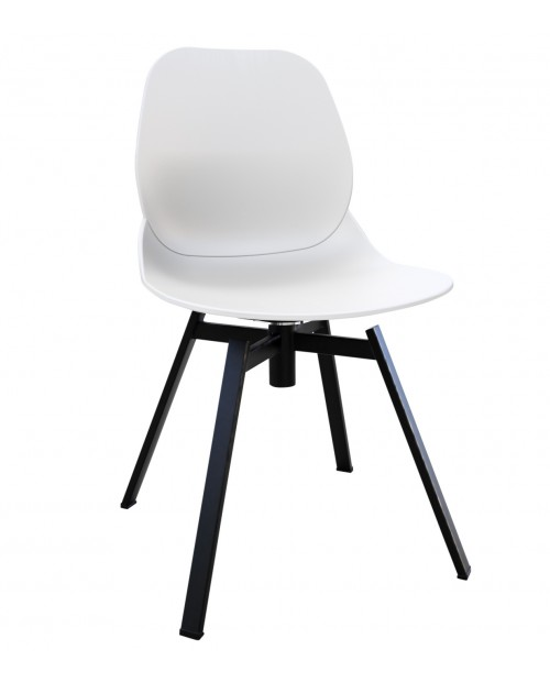 Joy Series White Dining Shell Side Chair Black Leg Designer Task Chair