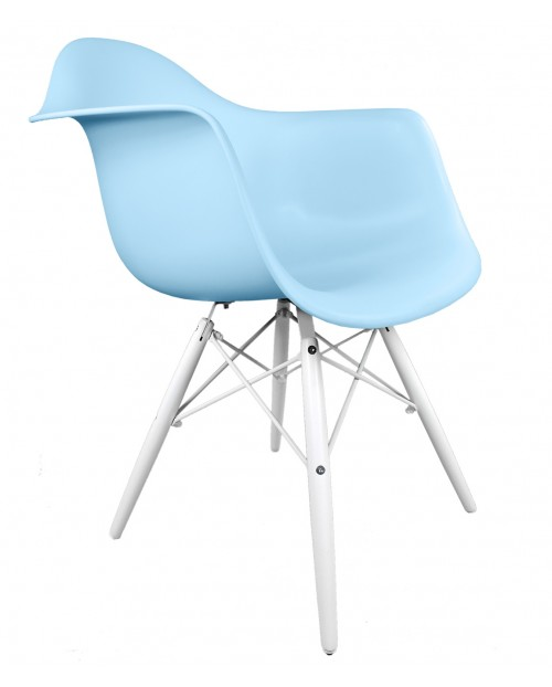 DAW Light Blue Plastic Accent Arm Chair with White Wood Eiffel Legs