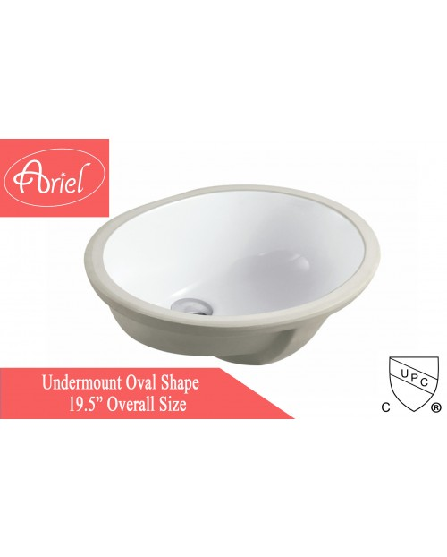 Porcelain Ceramic Vanity Undermount Bathroom Vessel Sink - 19-1/2 x 15-3/4 x 6 Inch