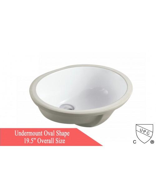 Porcelain Ceramic Vanity Undermount Bathroom Vessel Sink - 19-1/2 x 15-3/4 x 6 Inch