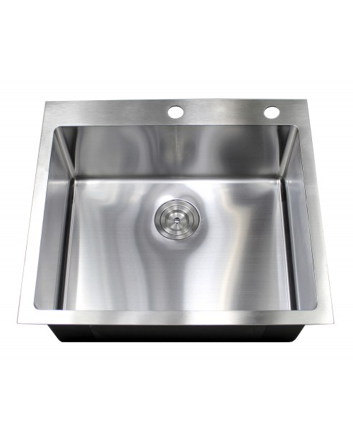 25 Inch Drop-In / Top-Mount Stainless Steel Single Bowl Kitchen Island / Bar Sink - 9 Gauge Deck & 16 Gauge Bowl