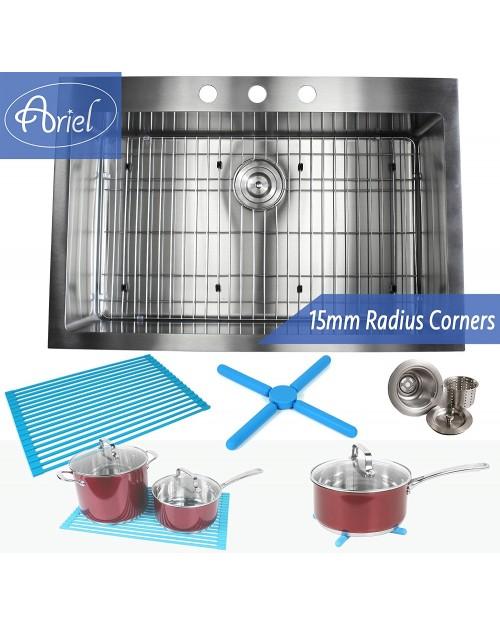 33 Inch Drop-In / Top-Mount Stainless Steel Single Bowl Kitchen Sink Premium Package 15mm Radius Design