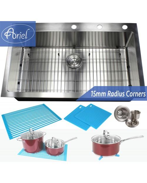 36 Inch Drop-In / Top-Mount Stainless Steel Single Bowl Kitchen Sink Premium Package 15mm Radius Design