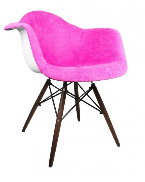 Shocking Pink Velvet Fabric Accent Arm Chair with Dark Walnut Wood Eiffel Legs