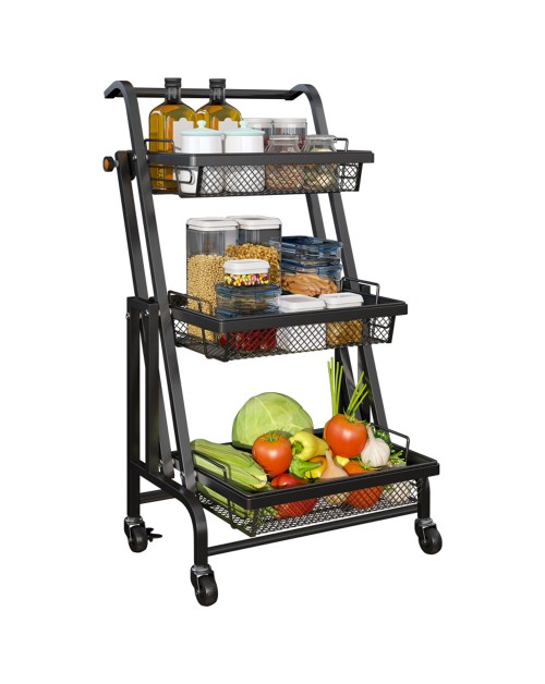 CozyBlock 3-Tier Folding Utility Rolling Cart Storage Organizer with Removable Baskets | Multipurpose Kitchen Utility Cart | Easy Moving and Folding | Great for Kitchen, Bathroom, Garage, Outdoor