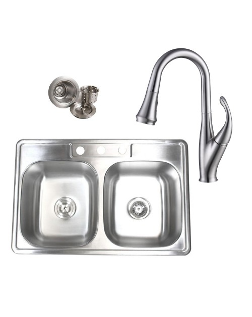 Topmount Drop-In Stainless Steel 33-1/8 in. x 22 in. x 9 in. 3 Faucet Hole 50/50 Double Bowl Kitchen Sink & Solid Brass Kitchen Faucet (Brushed Nickel Finish) Combo