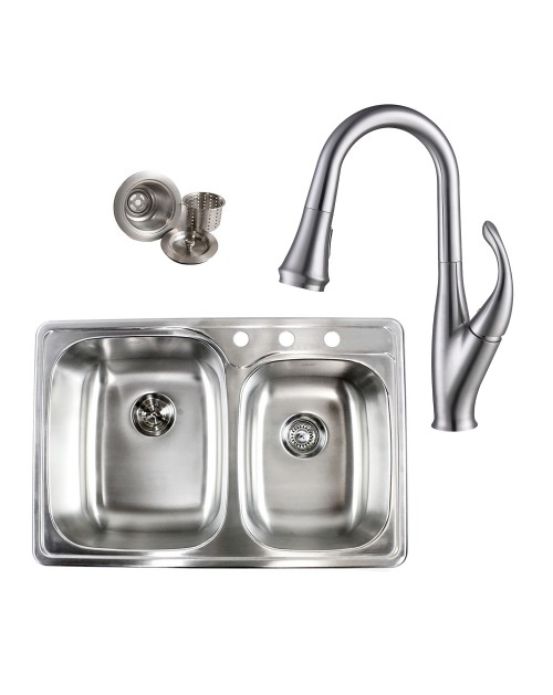 Topmount Drop-In Stainless Steel 33-1/8 in x 22 in x 9 in 3 Faucet Hole 60/40 Offset Double Bowl Kitchen Sink & Solid Brass Kitchen Faucet (Brushed Nickel Finish) Combo