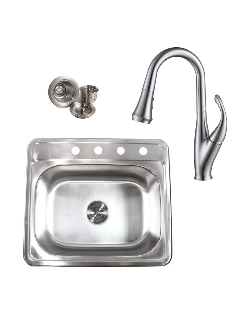Topmount Drop-In 18-Gauge Stainless Steel 25 in. x 22 in. x 9 in. 4 Faucet Hole Single Bowl Kitchen Sink & Solid Brass Kitchen Faucet (Brushed Nickel Finish) Combo