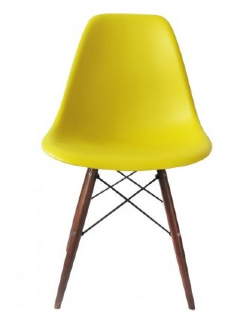 DSW Molded Dark Yellow Plastic Dining Shell Chair with Dark Walnut Wood Eiffel Legs