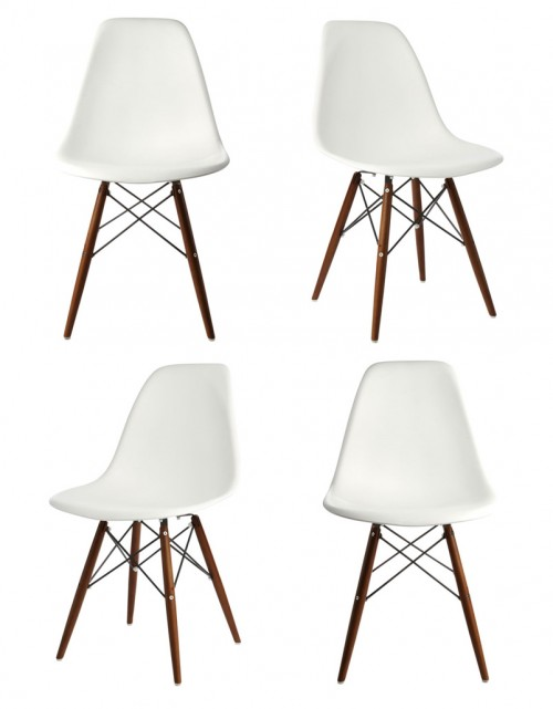 Set of 4 DSW Molded White Plastic Dining Shell Chair with Dark Walnut Wood Eiffel Legs