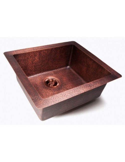 Natural Coffee Hand Hammered Finish Copper Undermount / Drop In Kitchen Sink - 25 x 22 x 9 Inch