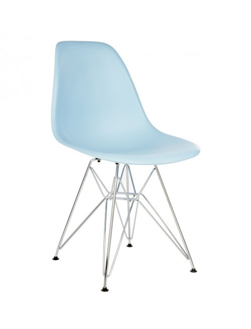 DSR Molded Light Blue Plastic Dining Shell Chair with Steel Eiffel Legs