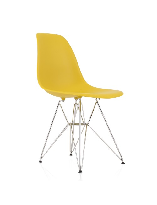 DSR Molded Dark Yellow Plastic Dining Shell Chair with Steel Eiffel Legs