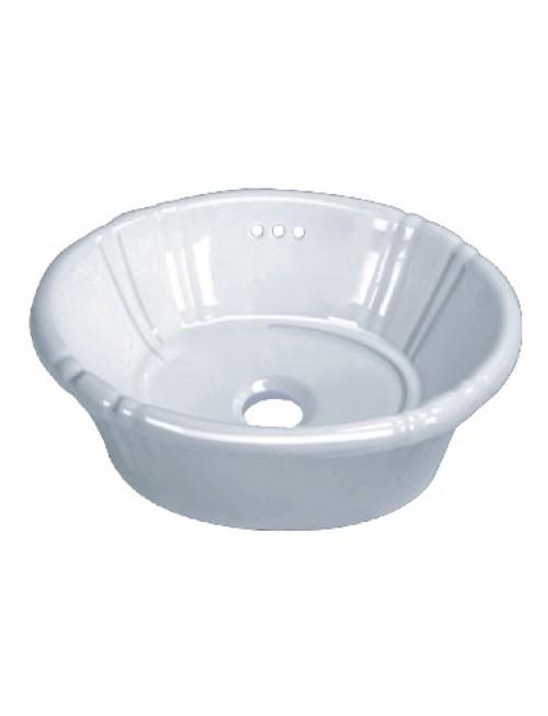 Porcelain Ceramic Vanity Drop In Bathroom Vessel Sink - 17-3/4 x 14-3/8 x 7 Inch