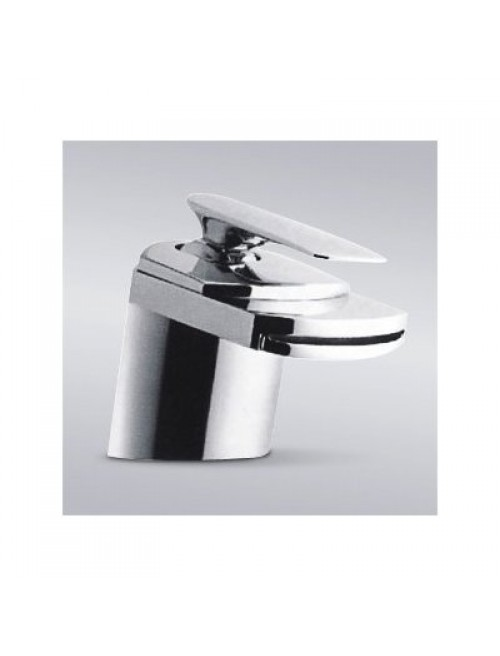 Contemporary Waterfall Flat Spout Single Hole Bathroom Faucet Chrome Finish - 5 x 2-1/2 Inch