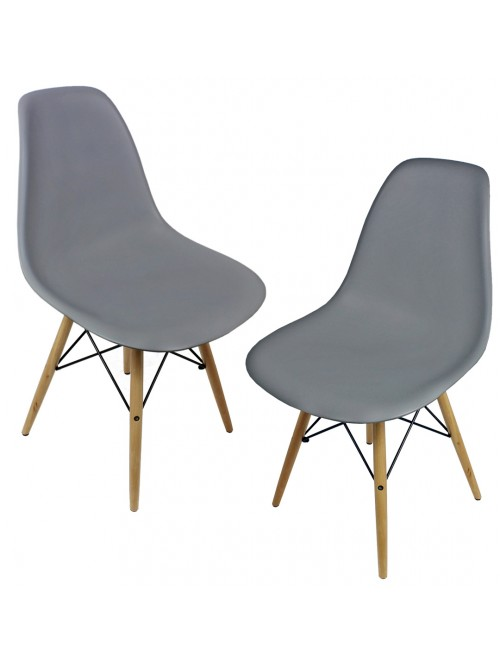 Set of 2 DSW Gray Plastic Dining Shell Chair with Wood Eiffel Legs