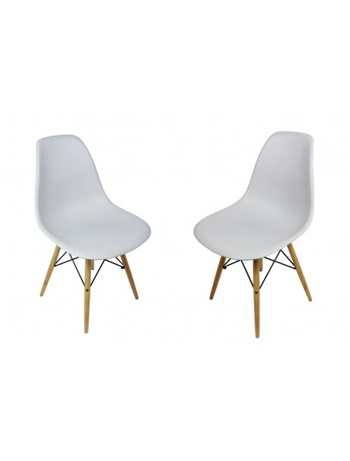 Set of 2 DSW Light Gray Plastic Dining Shell Chair with Wood Eiffel Legs