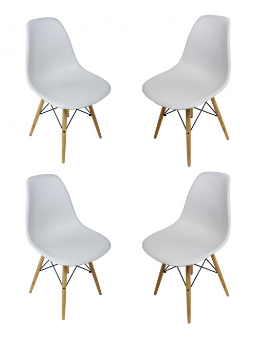 Set of 4 DSW Light Gray Plastic Dining Shell Chair with Wood Eiffel Legs
