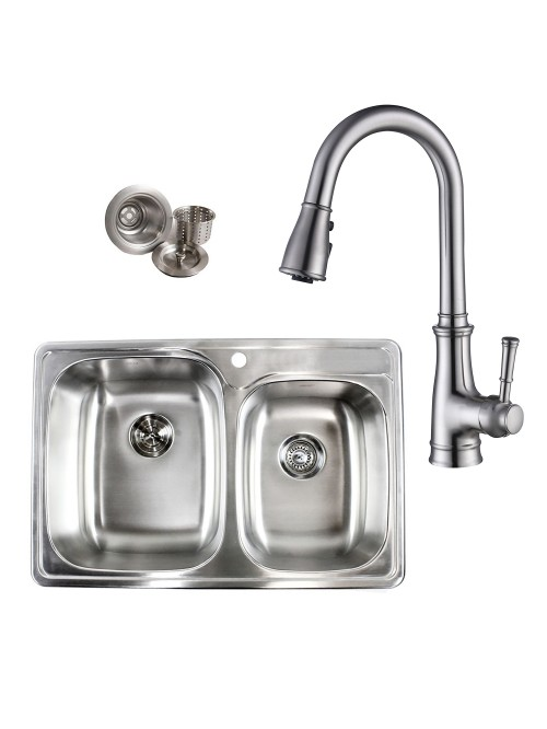 Topmount Drop-In Stainless Steel 33-1/8 in x 22 in x 9 in 1 Faucet Hole 60/40 Offset Double Bowl Kitchen Sink & Solid Brass Kitchen Faucet (Brushed Nickel Finish) Combo
