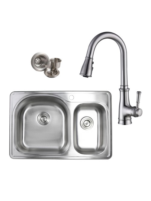 Topmount Drop-In Stainless Steel 33 in. x 22 in. 1 Faucet Hole 70/30 Offset Double Bowl Kitchen Sink & Solid Brass KItchen Faucet (Brushed Nickel Finish) Combo