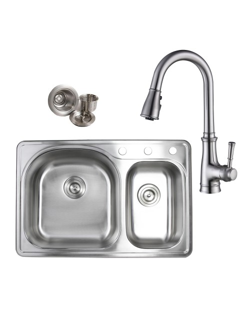 Topmount Drop-In Stainless Steel 33 in. x 22 in. 3 Faucet Hole 70/30 Offset Double Bowl Kitchen Sink & Solid Brass Kitchen Faucet (Brushed Nickel Finish) Combo