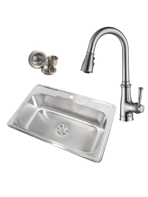 Topmount Drop-In 18-Gauge Stainless Steel 33 in. x 22 in. x 9 in. 1 Faucet Hole Single Bowl Kitchen Sink & Solid Brass Kitchen Faucet (Brushed Nickel Finish) Combo