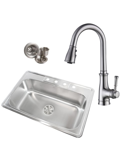 Topmount Drop-In 18-Gauge Stainless Steel 33 in. x 22 in. x 9 in. 4 Faucet Hole Single Bowl Kitchen Sink & Solid Brass Kitchen Faucet (Brushed Nickel Finish) Combo