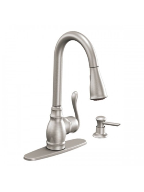 Moen Anabelle Lead Free Single Handle Pull Out Kitchen Faucet With Soap Dispenser