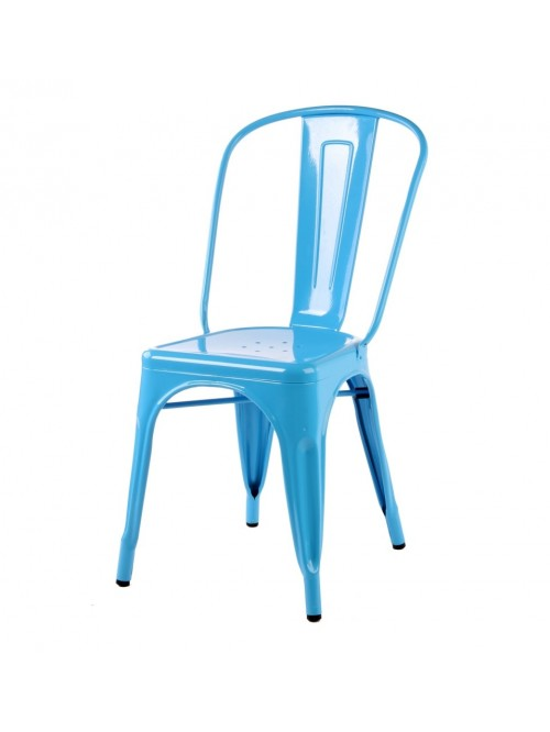 Tolix Style Metal Industrial Loft Designer Blue Cafe Chair