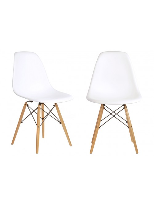 Set of 2 DSW Molded White Plastic Dining Shell Chair with Wood Eiffel Legs