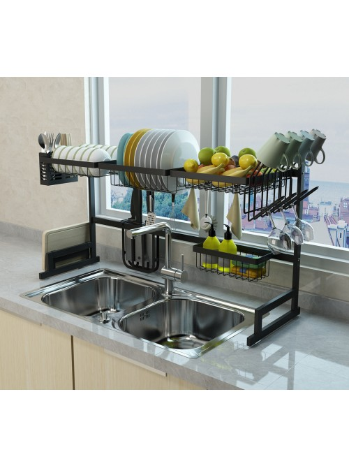 "34.6"" Stainless Steel Black Dish Drying Rack Over Kitchen Sink, Dishes and Utensils Draining Shelf, Kitchen Storage Countertop Organizer, Utensils Holder, Kitchen Space Saver, All in One Dishes Washing Solution (Sink < 33.75"")"