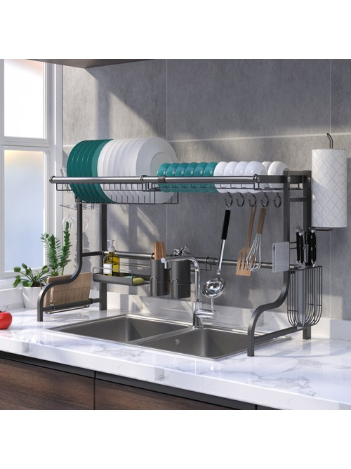 """Stainless Steel Black 23.5"""" to 38"""" Extendable Dish Drying Rack Over Kitchen Sink, Dishes and Utensils Draining Shelf, Kitchen Storage Countertop Organizer, Utensils Holder, Kitchen Space Saver, All in One Dishes Washing Solution"""