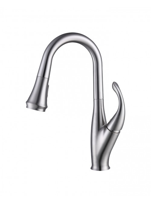 Juliet Kitchen Faucet with 2-Way Pull Down Sprayer | Lead-free Single Handle Brushed Nickel Kitchen Faucet | Modern High Arc Pre-rinse Sprayer Faucet