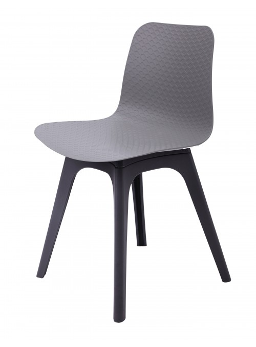 Hebe Series Gray Dining Shell Side Chair Molded Plastic Black Legs