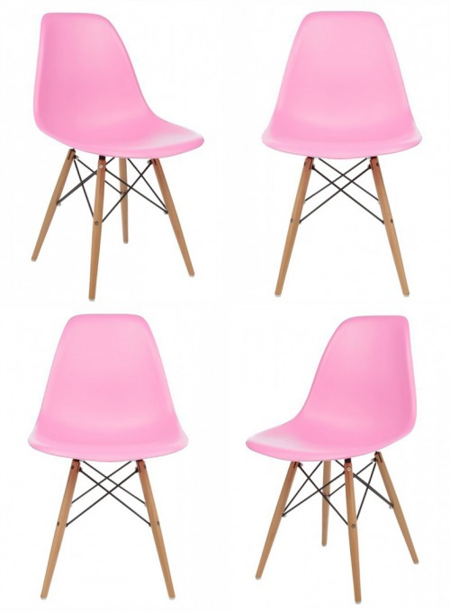 Set of 4 DSW Molded Pink Plastic Dining Shell Chair with Wood Eiffel Legs