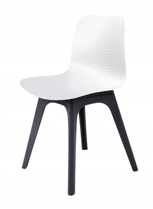 Hebe Series White Dining Shell Side Chair Molded Plastic Black Legs