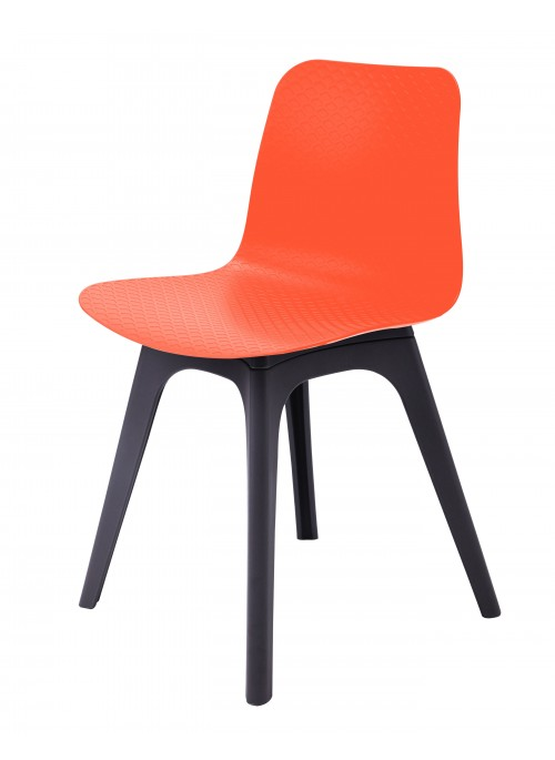 Hebe Series Orange Dining Shell Side Chair Molded Plastic Black Legs