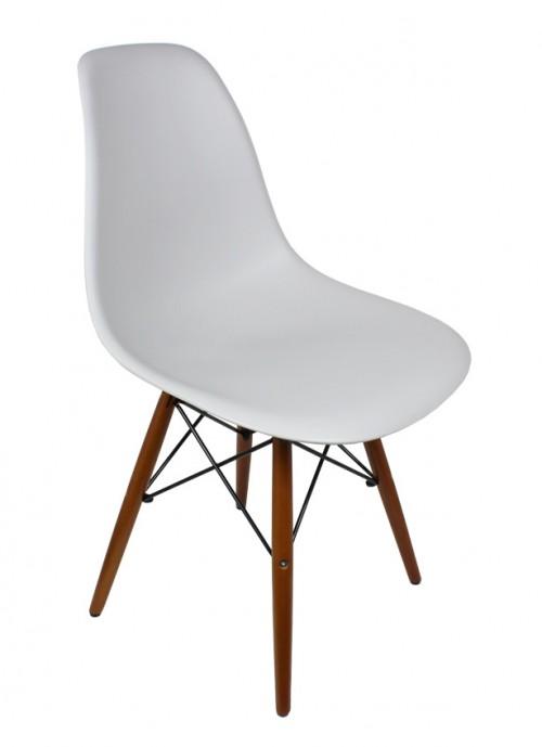 DSW Light Gray Plastic Dining Shell Chair with Dark Walnut Wood Eiffel Legs