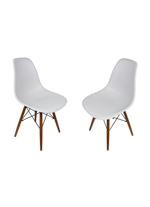 Set of 2 DSW Light Gray Plastic Dining Shell Chair with Dark Walnut Wood Eiffel Legs