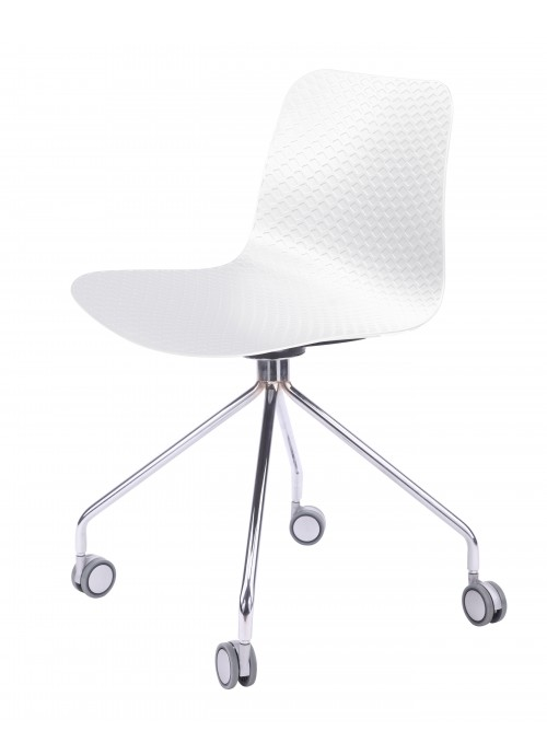 Hebe Series White Office Chair Molded Plastic Designer Task Chair