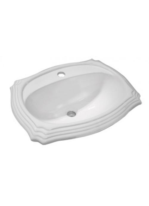 Porcelain Ceramic Vanity Drop In Bathroom Vessel Sink - 23 x 19 x 8 Inch